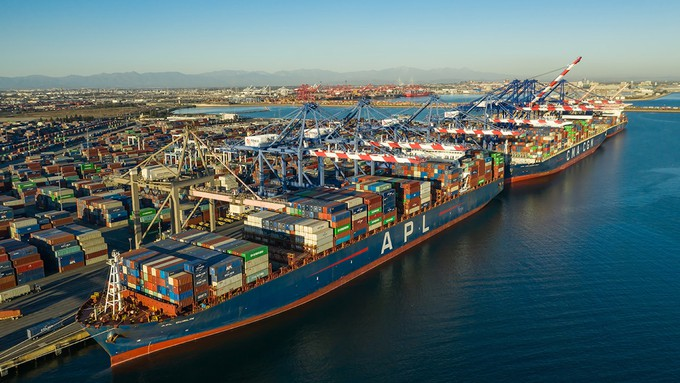 Image caption: Cargo ship traffic has reached record levels at California's ports in 2021.