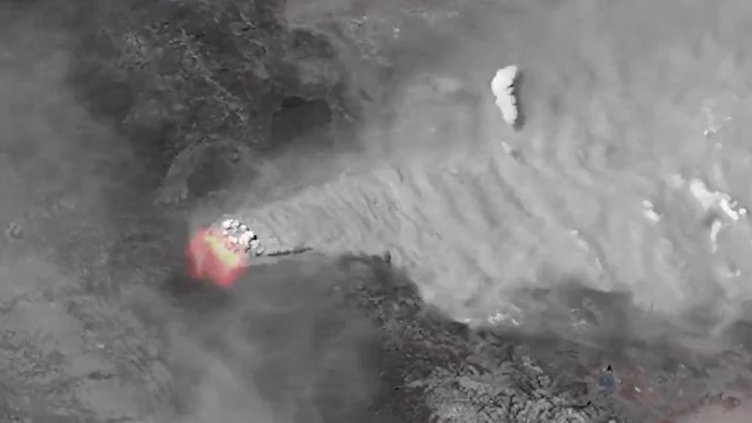 Image caption: The Caldor Fire in El Dorado County, seen via satellite photo.