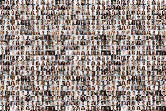 Mosaic of many faces.