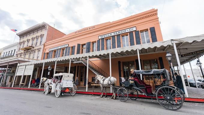 Image caption: Old Sacramento Historic District Sacramento is an open-air museum of historic buildings.