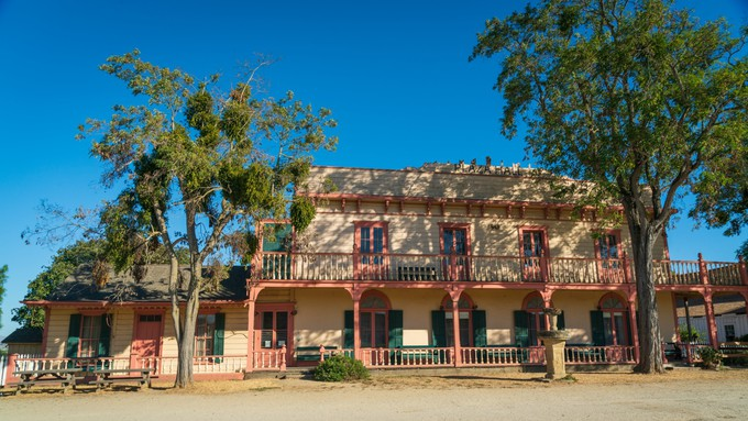 A picture of the train station in San Juan Bautista.