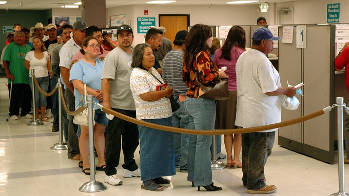 Image caption: Thousands of Californians continue to file for unemployment benefits.