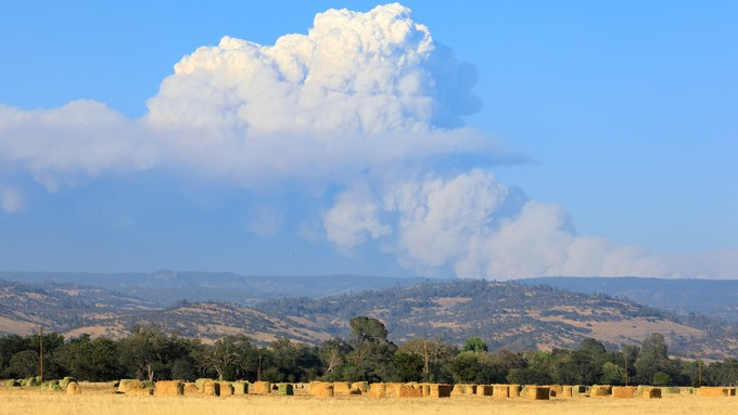 Image caption: A Pyrocumulus cloud generated by the Dixie Fire in July, 2021.