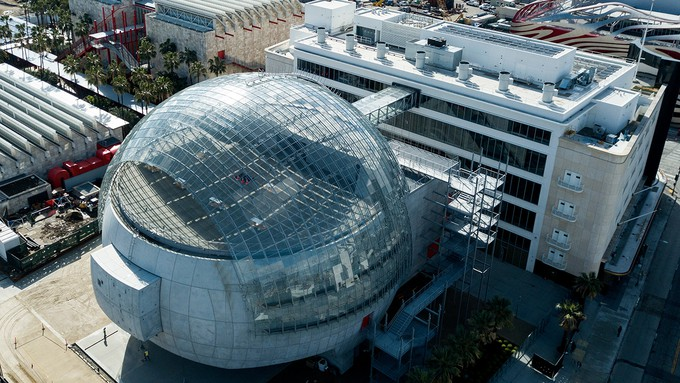 """Image caption: Renzo Piano's """"a soap bubble that will never break"""" is now open to the public, showcasing highlights of cinema history."""