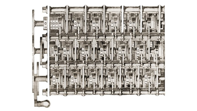 Image caption: Photo of Babbage Analytical Engine Plan from 1840 at the Computer History Museum