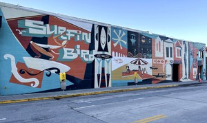 The Surfin' Bird mural, depicting Santa Cruz life.