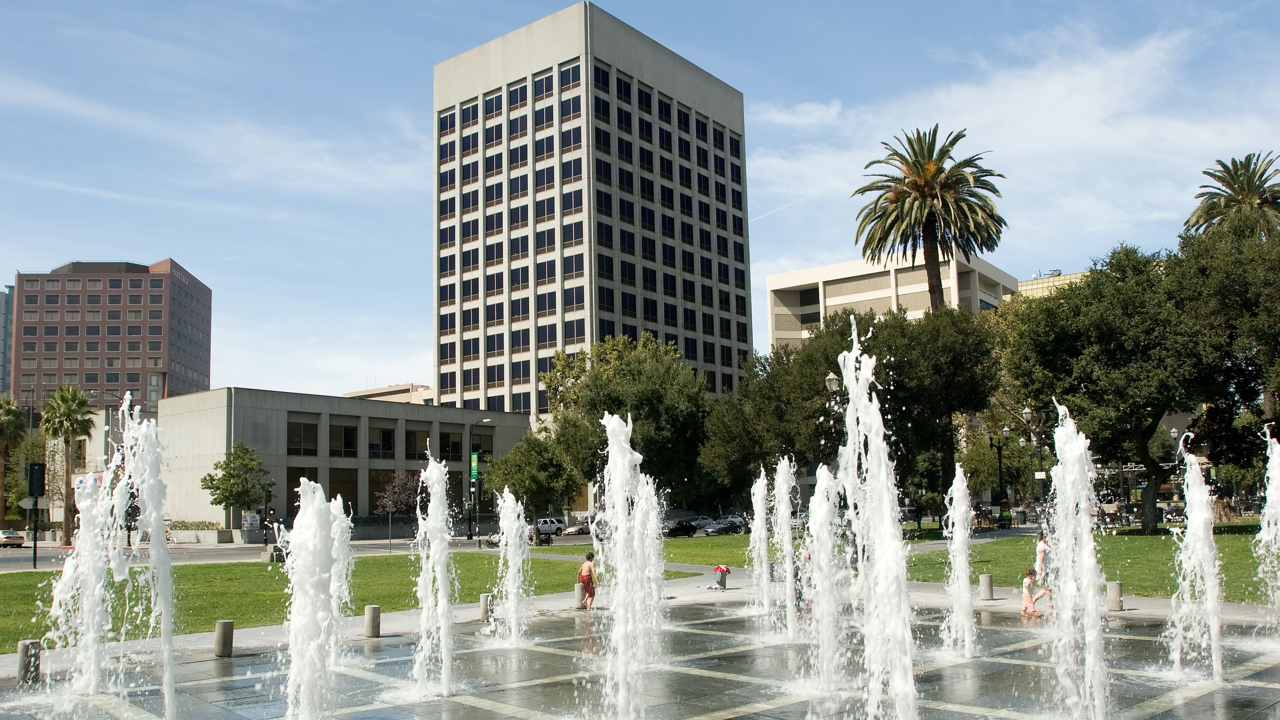 A picture of a fountain in downtown San Jose.